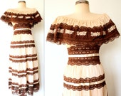 1970s Dress / 70s Off Shoulder Dress / 70s Cream & Chocolate Lace Dress