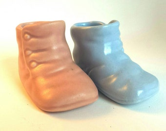 Vintage Haeger Baby Shoe Planters Pink and Blue