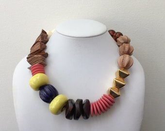Necklace 2.20 - handmade beaded asymmetrical one of a kind chunky statement necklace featuring vinage lucite wood ceramic beads