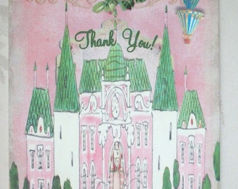 CASTLE - Hot Air Balloon - Fairytale- Thank you notes - Set of 4  Notecards and envelopes - MAMB 76787