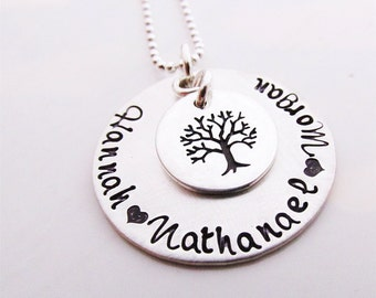 Personalized Jewelry - Family Tree  hand stamped necklace - grandmothers necklace - mothers necklace -