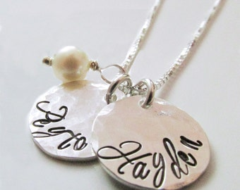 Personalized Necklace - Sterling Silver Mom Jewelry - Hammered Two