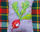 Tiny Radish Fall Decor Hand Embroidered Pillow