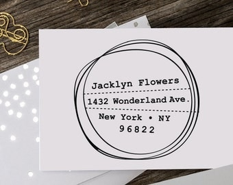 Custom Address Stamp, Self Inking Rubber Stamp, Wooden Address Stamp, Pre Inked, Calligraphy Stamp, Personalized Gift - 1039