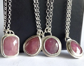 Pink Sapphire Necklace - Rose Cut Sapphires - September Birthstone - Layering Necklaces