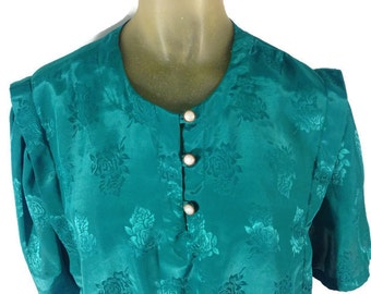 1960s Green Blouse, Vintage 60s Blouse, Embossed Green Floral Blouse, Pearl Buttons, Elastic Waist Blouse, Bubble Blouse, Art Deco Mad Men L