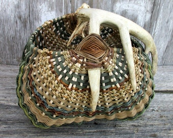 Antler Basket with Real Deer Antler by Marcia Whitt