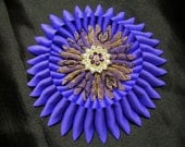 "Large Ribbon Cocarde, ""PURPLE"" Civil War, Ribbon Work Starburst Cockade, Brooch, 1800s, Millinery, Hat Adornment"