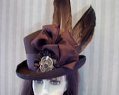 Brown Steampunk Top Hat With WINGS Kentucky Derby Hat, Equestrian, Cosplay Top Hat