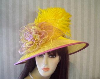 Kentucky Derby Hat, Yellow and Purple Hat, Kentucky Derby, Preakness Hat, Belmont, Wide brim Hat, Ascot Downton Abbey, Victorian, Edwardian