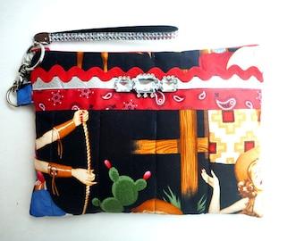 Rockabilly clutch/retro wristlet clutch/evening bag/western clutch/cowgirl pinup clutch/key fob/bridesmaid gift/makeup bag/western wedding