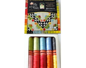 Aurifil EVERYDAY COLORS thread collection - 10 small spools of 50wt cotton thread, 220 yards each