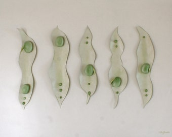 Fava Beans Painting - Sculptural 3D Broad Beans Pale Green Kitchen Picture Wall Art