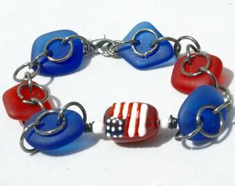 Red White Blue Bracelet, Cultured Sea Glass Beads Bracelet, Patriotic Bracelet, USA Flag Bracelet, Modern BoHo Blue Bracelet, Military Gift