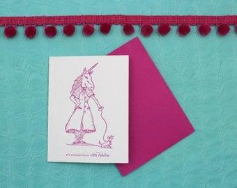 Fab Unicorn - Letterpress Card