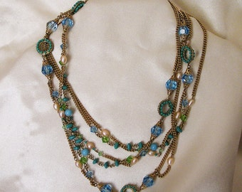 Vintage 52 Inch Flapper Style Necklace. Blue and Green Crystals, Fresh Water Pearls, Turquoise Beads, Filigree Caps, Wired Bead Rings (J112)