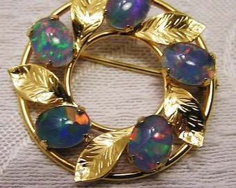 Vintage Opal Brooch with Doublet or Triplet Opals with Red and Green Flashes Five Opals Set in Gold Filled Leafy Circle Setting  (J78)
