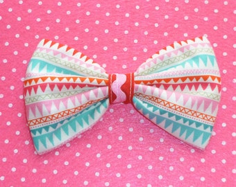 SALE Cute Geometric Bow hair clip red, pink, turquoise