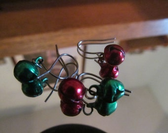 red green christmas bells