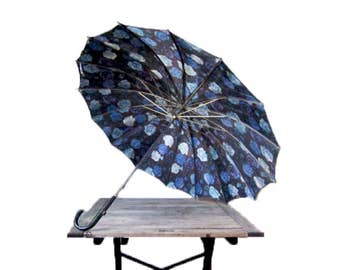 Vintage Blue Umbrella - 1960s Abstract Parasol - Black and Blue Umbrella with Curved Hook Handle - Floral Impressionist Rain Accessory