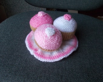 knitted play food,  toy tea set, play food, knitted plate and three cupcakes