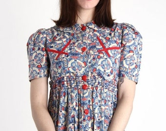ON SALE Dutch Print Dress Antique Cotton Folk Maxi