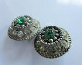 Vintage Buttons - 2 beautiful matching flower design, blue green colored center rhinestone, silver metal, (dec 15b)