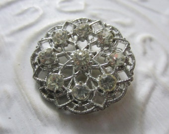 Vintage Buttons-1  large beautiful open work filigree with rhinestones  silver metal (lot aug 14b)