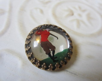 Vintage Button - Collector Golfer, 1930's, lithograph with domed glass front, (oct 12b)