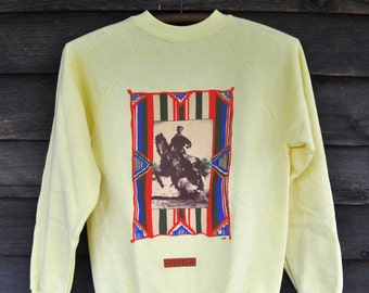 Awesome Vintage Old West Cowboy Sweatshirt Rodeo Photo Sepia Southwest Design Border 1980s 1990s Hipster Pale Yellow Red Blue