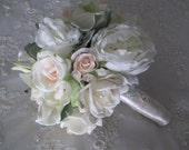 Reserved listing for.....stepfanee1....Dusty Miller Blush Peonies Realtouch Roses Blush Silk Roses Calla lilies Bridal  Spring Winter Set