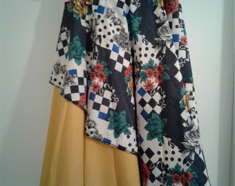 Retro Asymmetrical  Reversible Circle Wrap Skirt