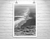 Large Art, Black and White Photography, California Coast, Point Reyes, Deer Art, Sea Coast, Wildlife Art, Vertical Art Print, Murray Bolesta