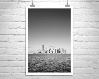 New York City Art, Black and White, Art Photography, Vertical Wall Art, Manhattan Art, Art Print, Urban Art, City Art, NYC, Hudson River
