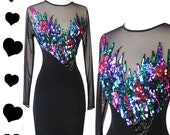 Vintage 80s 90s Dress // Bright Sequin Tadashi Body Con Dress XS Black Tight Stretchy Sheer Mesh Long Sleeves Beaded Glam Cocktail LBD Dress