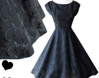 Vintage Black Dress Vintage 50s Dress Black Embroidery Dress Black Party Dress Vintage Prom Dress Full Skirt Dress 50s Prom Dress Size XS S