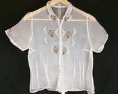 Vintage 50s Sheer White Floral Embroidered Blouse Top XS S