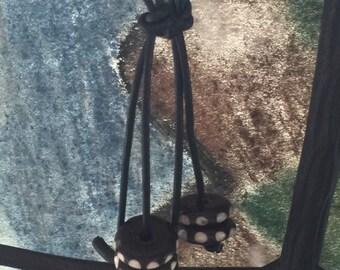 Black Tribal leather dangles   Bone Earrings  Tribal Earrings Boho EArrings  Bohemian Jewelry