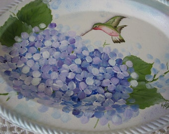 Hand Painted Hydrangeas Hummingbird Silverplate Trinket Tray Blue Purple Home Decor