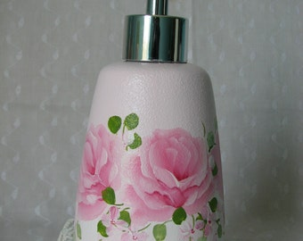 Soap Lotion Dispenser Pump Hand Painted Pink Roses