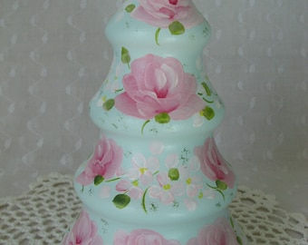 Glass Christmas Tree Jar Aqua Hand painted Pink Roses Shabby Cottage Chic Mantle decor