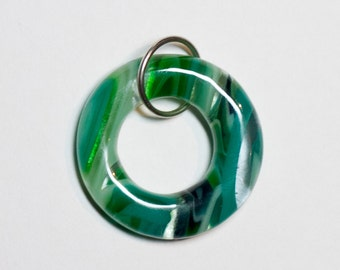Green striped fused glass donut pendant - 217