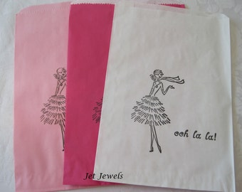 20 Paper Bags, Pink Paper Bags, Candy Bags, Paris Theme Party, Paris Decorations, Party Favor Bags, Paper Gift Bags, French Girl 6x9