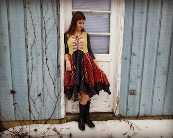 XS-Sm Fair Isle Upcycled Sweater Dress// Multi Colored// Reconstructed Boho// emmevielle