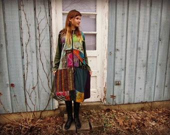 L-XL Embroidered Bohemian Gypsy Hoodie Sweater Coat// Reconstructed Multi Colored// emmevielle