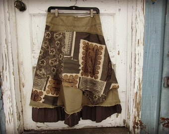 Sage Green Boho Layered Skirt// XSmall size 2// Upcycled// Silk Cotton// Spring Summer// emmevielle