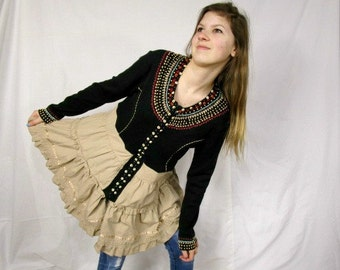 M-L Beaded Embroidered Tribal Reconstructed Cardigan Sweater// Upcycled Recycled// Multi Colored// emmevielle