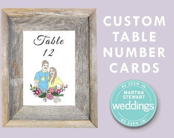 Custom Table Number Cards, Personalized Wedding Decor, Wedding Portrait, Downloadable Digital File