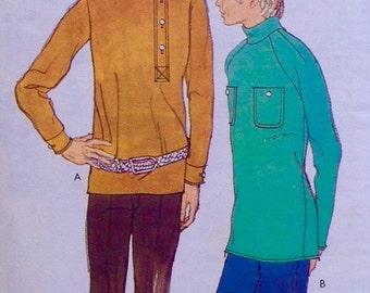 Vintage 1971 Rare Mod Groovy Men's STARTREK Greg Brady Cossack Shirt Hippie Sewing Pattern, L, Knits, Style 3343