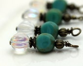 Vintage Style Czech Clear AB Melon and Czech Turquoise 3 Sided Bead Dangle Charm Drop Set, Earring Dangle, Pendant, Drop